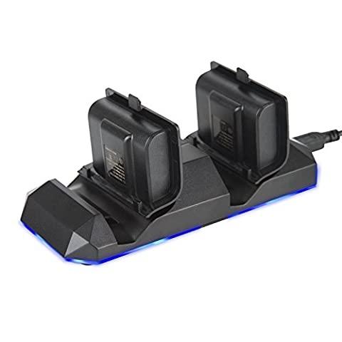 Dual Charging Dock, Koiiko Gaming Charging Station Dock with Dual 1100 mAh External Rechargeable Battery Pack & Charge Cable & Charging LED Indicator for Xbox One(S) / Xbox One Elite