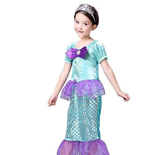 Kostüm Meerjungfrau Little Girl - Paris Halloween Kinder Meerjungfrau Prinzessin Kleid Tanz Halloween Cosplay Kinderkostüm,B,130cm