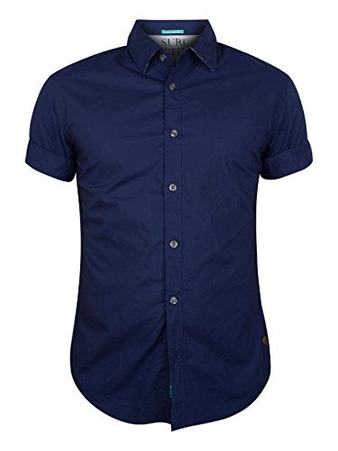 Scotch & Soda Homme Crispy Poplin Plain Shirt, Bleu Bleu