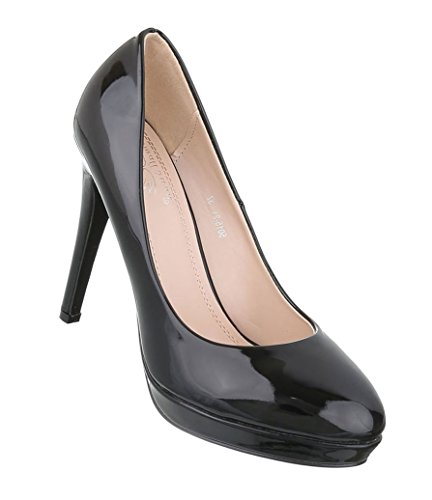 Damen Pumps Schuhe Elegant High Heels Plateau Schwarz