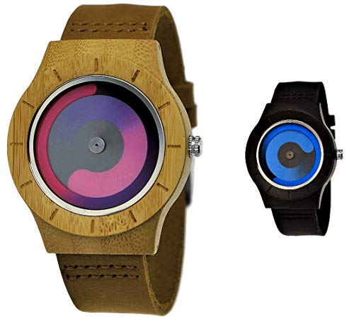 Handgefertigte Holzwerk Germany Designer Unisex Damen-Uhr Herren-Uhr Öko Natur Holz-Uhr Leder Armband-Uhr Analog Klassisch Quarz-Uhr Future Matrix Edition Braun Lila (Braun)