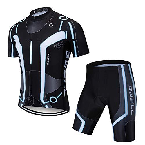 GWELL Herren Radtrikot Atmungsaktive Fahrradbekleidung Set Trikot Kurzarm + Radhose mit Sitzpolster für Radsport Schwarz (Set mit Shorts) L
