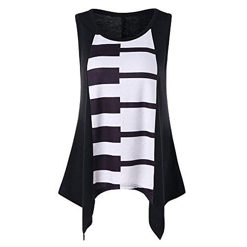 OSYARD Damen Casual Piano Druck Sleeveless Weste Shirt Tank Bluse Tunika Tops(EU 42/M, Black)
