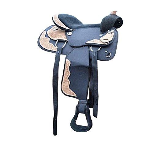 Westernsattel Colorado Echt Leder Sattel Pferdesattel Reitsattel Western Pony Shetty (15 Zoll)