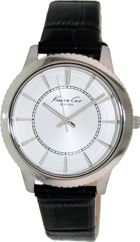 Kenneth Cole Women's KC6059 Black Leather Quartz Watch with White Dial