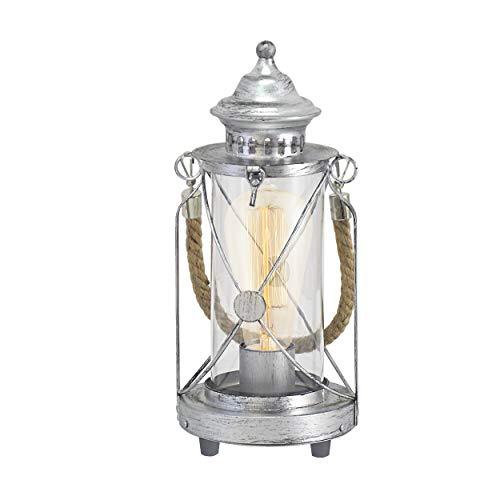 EGLO Tischlampe Bradford, 1 flammige Vintage Tischleuchte, Laterne, Material: Stahl, Farbe: Silber antik, Glas: klar, Fassung: E27, inkl. Schalter