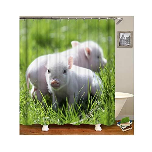 Bishilin Duschvorhang Anti-Schimmel Polyester-Stoff Baby Schwein Vintage Duschvorhang 90x180