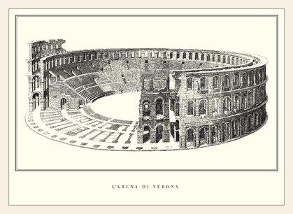 Arena von Verona Poster Kunstdruck Bild im Holz Rahmen in Ahorn weiss lasiert 49,8x68,7cm - Weiß Verona-kunst