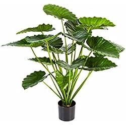 artplants Set 2 x Kunstpflanze Alocasia Calidora SALONI mit 19 Blättern, grün, 95 cm - Künstliche Zimmerpflanzen
