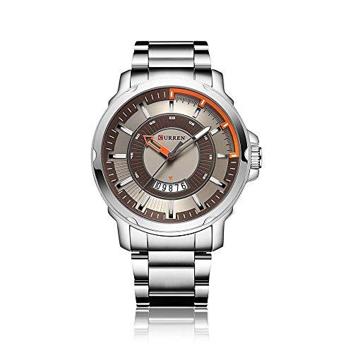 SoYoun Armbanduhren für Herren Quarz Uhren Aluminiumband wasserdicht 30M Spiralkronendicke 13mm Silberschale grau schwarz Oberfläche Silber