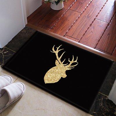 WANG-shunlida Fußmatte Nord Europa Einfache schwarze Unterseite Gold Geweih Ecke Fussmatte Teppich, Wc Wasseraufnahme rutschfeste Fußauflage, 50 X 80 Cm J 169-04 Gold Geweih (Rechts) - Gold-rechteckiger Teppich