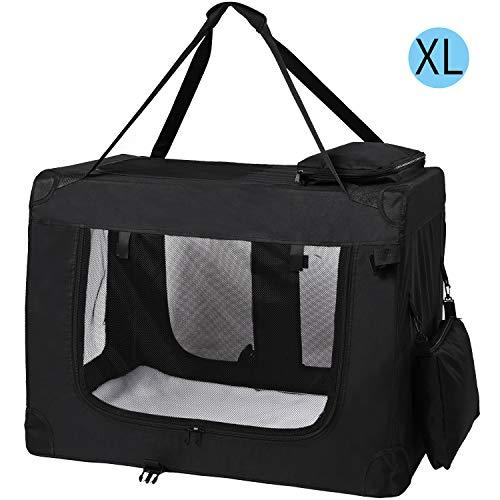 MC Star Transportin para Perros Gatos Mascotas Plegable Portátil Impermeable Tela Oxford Portador Bolsa de Transporte para Coche Viaje, XL 82 x 58cm Negro
