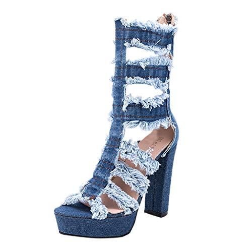 Suitray Damen Schuhe Mode Denim High Heels Cool Keile Schuhe Pumps Neuankömmling Offene Schuhe Freizeitschuhe Mädchen Strassenmode Peep-Toe Schuhe Hochhackige Schuhe Stiefel (Heels 10 Unter Dollar)
