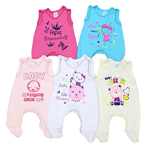 TupTam Unisex Baby Strampler mit Aufdruck Baumwolle 5er Pack, Farbe: Mädchen, Größe: 56