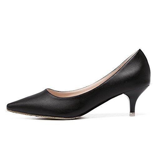 AalarDom Femme à Talon Correct Pointu Couleur Unie Tire Chaussures Légeres Noir-Fissure