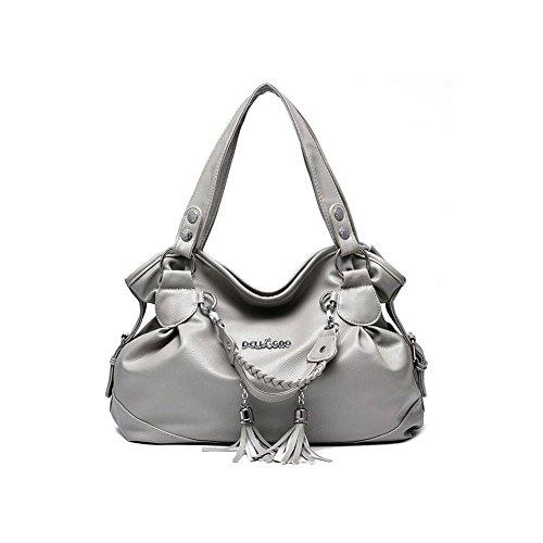 Beatayang Damen Elegant Schultertasche Handtasche Grau