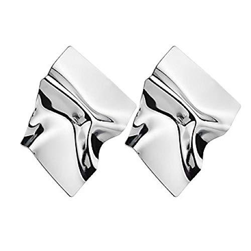 Frauen Cross Body Drop Ohrringe Ohrringe Damen Einfache Mode Übergroße Gehämmerte Schmuck Gold/Silber Für Zeremonie Karneval 1 Paar @ Silber