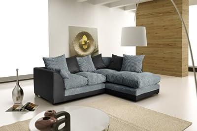 New Dylan Zina Black Swirl Fabric Corner Sofa, Left and Right (Corner Left (child))