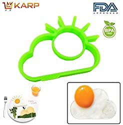 """KARPâ""""¢ Set Of 2 Sun Shape Silicone Fried Egg Mold Pancake Rings, Non Stick Bakeware Accessories Kitchen Tools,BPA free, FDA approved, 100% food grade silicone - Green colour"""