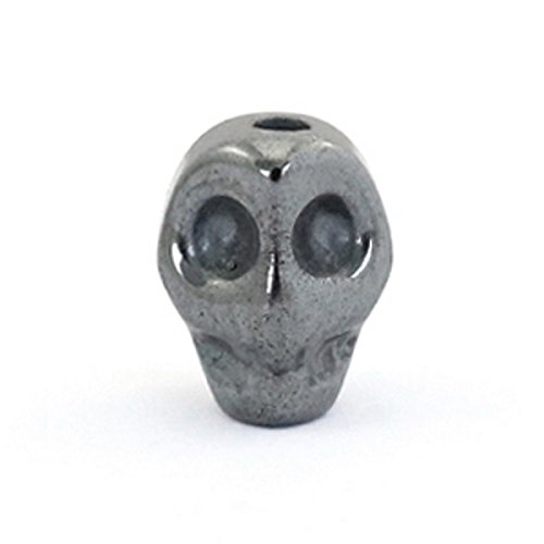 Sadingo Hämatit Blutstein Perlen Skull Schädel Silbergrau - 3 Stück - 8 x 6 mm - Herrenschmuck, Geschenkidee, Armbänder