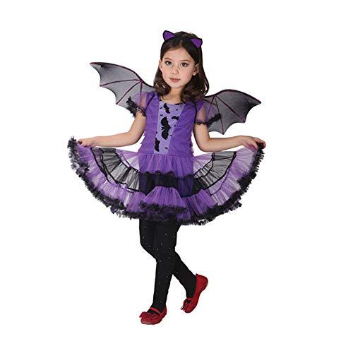 Kostüm Süße Batgirl - T-XYD Batgirl Kleid Kinder Batgirl Kostüm Kinder Halloween Cosplay Mädchen Bühnenkleidung Lass Kostüm Outfit 3-12 Jahre,M