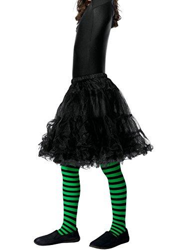 Smiffys, Kinder Mädchen Hexen Strumpfhose, One Size, Grün und Schwarz, 48144