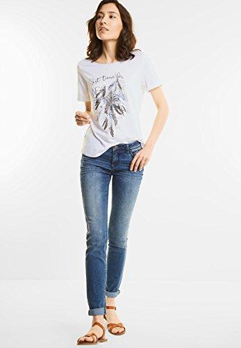 Street One Damen Federprint Shirt mit Glitzer white (weiss)