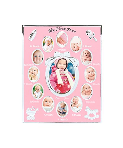 Tiny Ideas Baby's First Year Picture Frame, Silver/Pink