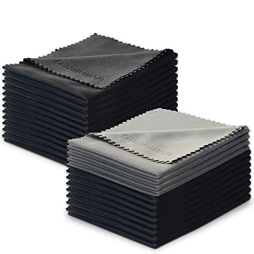 Charm & Magic Mikrofaser Reinigungstücher für Alle Arten von Bildschirmen, 24er-Pack(20 Schwarz + 4 Grau)