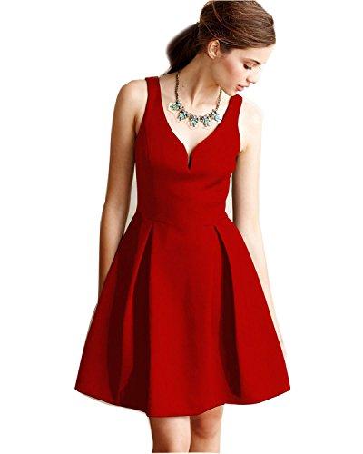 LUOUSE 50er Retro Audrey Hepburn Schwingen Pinup Rockabilly Kleid,Red,S