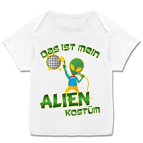 Mädchen Baby Alien Kostüm - Karneval und Fasching Baby - Das ist Mein Alien Kostüm Disco - 68-74 (9 Monate) - Weiß - E110B - Kurzarm Baby-Shirt für Jungen und Mädchen