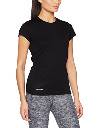 Spiro Damen Quick Dry Super Soft Short Sleeve T-Shirt, Schwarz, Größe L (Frauen Tennis)