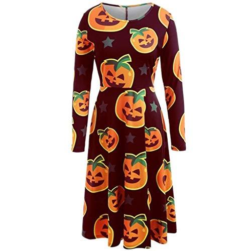 Damen Halloween Kleider Große Größe,Kostüm Casual Elegant Kleider,Vintage Langarm Kürbis Drucken Pumpkin Freizeitkleider Oversize,Party Kleid (Ideen Für Selbstgemachte Hippie Kostüm)
