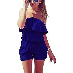 Minetom Combishort Femme Sexy Casuel Romper Jumpsuit D'Été Short Femme Chic Combinaisons Short - sans Ceinture Bleu Foncé FR 38