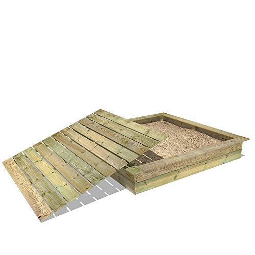 Sandkasten Holz Sandkiste WICKEY KingKong 195x195 cm mit Deckel -