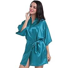 WYSMOL Ropa de Dormir Erótica para Mujer Sexy Batas y Kimonos de Satén Albornoces Cortos