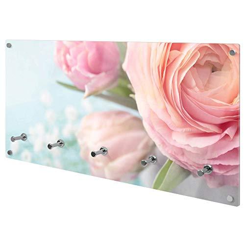 banjado Wandgarderobe aus Echtglas | Design Garderobe 80x40x6cm groß | Paneel mit 5 Haken | Flurgarderobe für Jacken und Mäntel | Garderobenleiste mit Motiv Rosa Tulpe