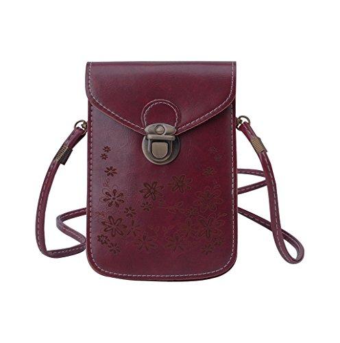 Dairyshop Sacchetto di spalla del mini sacchetto trasversale della borsa del telefono delle cellule della moneta della borsa del raccoglitore delle donne (vino rosso) vino rosso
