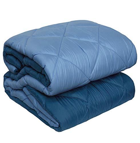 Arrediamoinsieme-nelweb trapunta invernale matrimoniale double face coperta piumone biancaluna 100% made in italy (blu) 2 piazze (260x260cm)