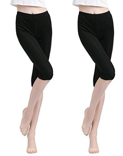 Vinconie Hose Unter Rock Leggins Capri Schwarz Hose Unter Kleid Leggins Shorts Damen