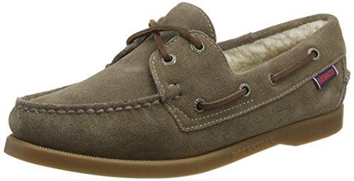 Sebago Docksides Shearling, Chaussures Bateau Femme, Marron (Dk Taupe Suede), 37.5 EU