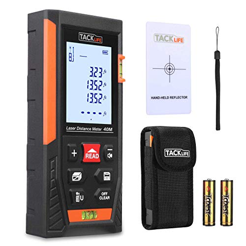 Télémètre Laser 40m, Tacklife Metre Laser, Ecart 1.5mm, Calcule Distance Surface Volume, Fonction Pythagore, Stocker 30 données, 2 Niveaux à Bulle, Fonction Muet, IP54, LCD Rétro-éclairage