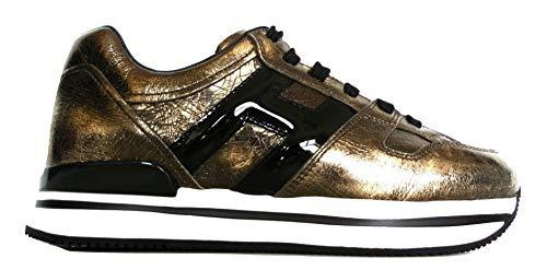 Hogan Scarpe Sneakers Running da Donna H222 con Lacci Nero Oro HXW2220T548JD81805 Oro, 37