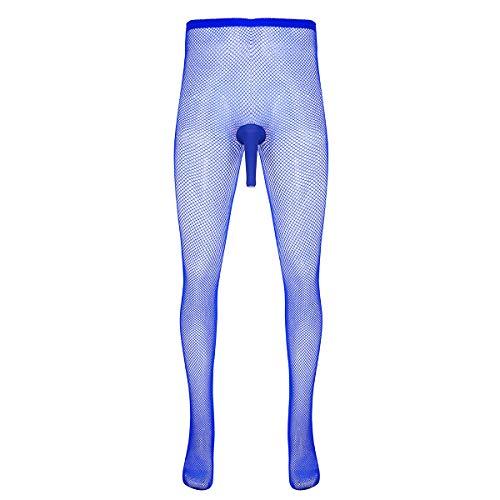 Freebily Herren Netzstrumpfhose mit Offen/Geschlossene Penishülle Strumpfhosen Tights Hose Mesh Legging Netz Pant Pantyhose Tansparent Unterhose Reizwäsche Blau offen Penis One Size