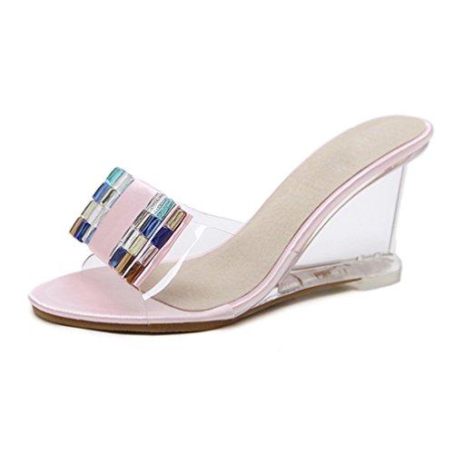 (Frauen rutscht High Heels Schuhe Frauen Keile Schuhe Offene Zehe Sommerschuhe Pantoffeln Weibliche Partei Plateauschuhe)