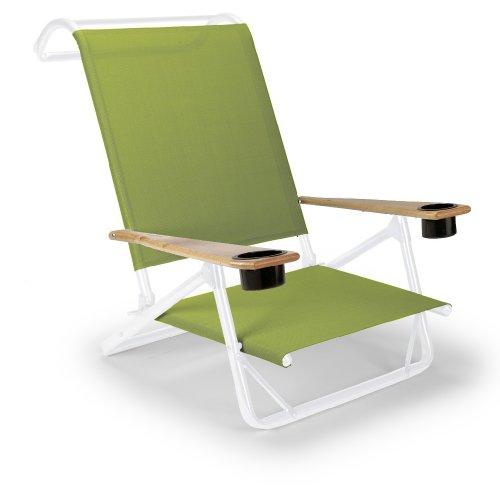 Mini-sand-stuhl (Teleskop Casual Original mini-sun Recamiere faltbar Beach Arm stuhl mit Becherhalter, lime mit Rahmen weiß glänzend)