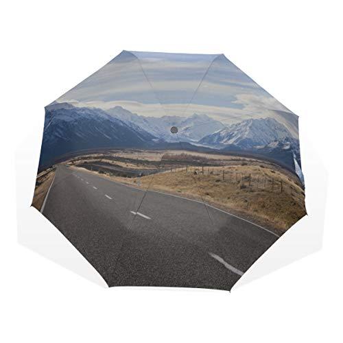Bay-muster (Regenschirm für den Regen Sonnenuntergang am Milford Bay Lake 3 Fold Art Regenschirme (Außendruck) Reiseregenschirm Muster Schöner Regenschirm Regenschirm Kompakt)