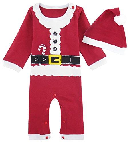 Mombebe Bebè Natale Costume Pupazzo Di Neve Pagliaccetto con Cappello (Babbo Natale, 12-18 Mesi)