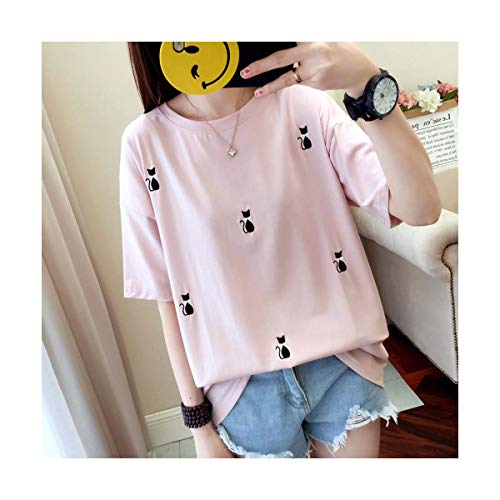 Summer Short Sleeve Women Loose T-Shirt Embroidery Cat Cotton Casual Fashion Female Korean Tops T Shirt Femme Pink White Black Pink L -