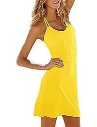 Sodacoda Beach Perfect Summer Holiday Dress knee length (Yellow, One Size S-XL)